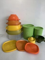Vintage Tupperware Harvest Colors And Apple Green Servalier Canister Set And Extras