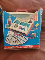 Vintage 1972 Fisher Price School Days Play Desk W/ Letters Numbers Stencils