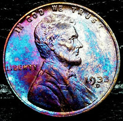 1933 D Lincoln Wheat Penny Cent- Beautiful Toning Closely Uncirculated 01