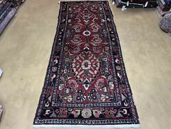 3and039 4 X 9and039 Antique Handmade Wool Rug Runner Floral Organic Dyes Red Nice