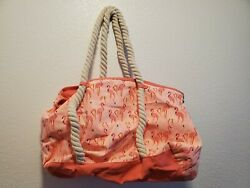 Beach bag tote with flamingo pattern $10.00