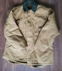Canvas Lined Work Coat Jacket Brown Heavy Winter Size Large