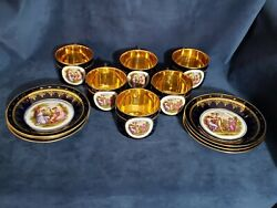 Antique Royal Vienna Cobalt And Gold Porcelain Cup And Saucer Kauffman Beehive 1880