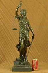 Blind Lady Justice Bronze Statue 30 Inches Massive Heavy Sculpture Figurine Deal