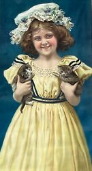 1900s Victorian Parlor Print Girl With Kittens Vintage Kitty Cat Framed Poster