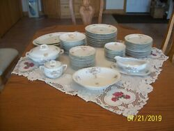Hutschenreuther Selb Vtg Porcelain China Rose Pattern Dinnerware 54 Pieces
