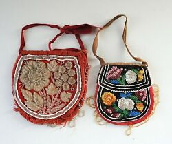Lot Of 2 Vintage Iroquois Native American Glass Beaded Pouch Purse