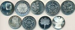 Lot 9 Israel Silver 25 And 50 Lirots-beautiful Au+/unc Coins 1974-1979-free S/h