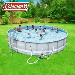 Coleman 22' X 52 Power Steel Round Frame Swimming Pool Set | Brand New In Box