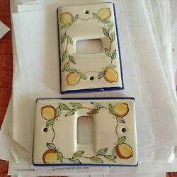 2 Hand Painted Ceramic Lemons Covers - Light Switch / Outlet Purchased In Italy