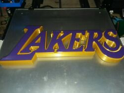 La Lakers Nba Logo Wall Mount. 3d Printed 14 Inch By 6 Inch. 1.25 Inch Thick.