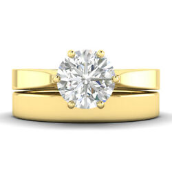 0.8ct D-si1 Diamond Bridal Set Engagement Ring 18k Yellow Gold Any Size
