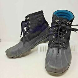 Sperry Top Sider Mens Duck Boots Black Lace Up Waterproof Ankle Leather 11.5 M