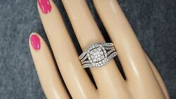 Vintage 10k And 14k White Gold Diamonds Engagement Wedding Dual Ring 1.0cts T.d.w