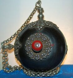 Antique Yak Horn Snuff Bottle - Stopper And Chain In Silver - Tibetan Antiques