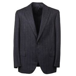 Cesare Attolini Modern-fit Charcoal Gray Woven Stripe Wool Suit 42r Eu 52 Nwt