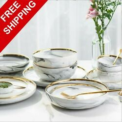 Gold Marble Dinner Plates Ceramic Tableware Set Food Dishes Rice Salad Bowl Gift