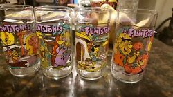 1991 Hardees Glasses The Flintstones The First 30 Years Set Of 4