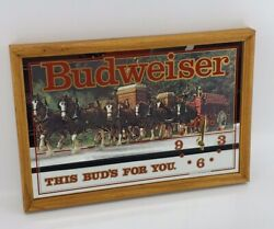 Vintage Budweiser Clydesdale This Buds For You Clock Mirror Sign Wood Frame