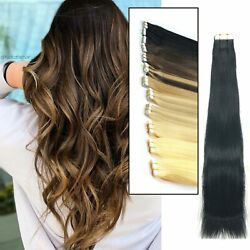16- 24 Seamlees Amazing Curly Tape In Real Human Hair Extensions Wavy Us