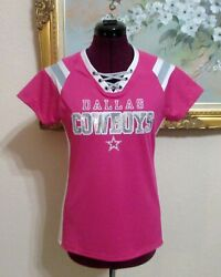 Wms Dallas Cowboys Tammy Sz M Pink/silver Sequined Cross Lace Up Nfl Jersey Top