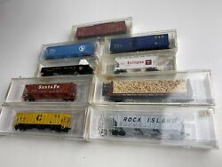 Micro-trains N Scale Lot Of 9 Modern Day Mixed Freight Cars Csx Arr Wc Santa Fe