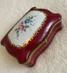 Large Antique Limoges Hinged Hand Painted Floral Gold Trinket Box Signed Louise