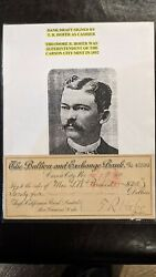 Bank Draft Signed By T.r. Gofer Carson City Mint Superintendent 1892. Scarce.
