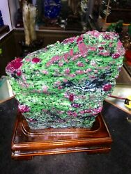 19.8lb Large/heavy Extremely Rare Natural Ruby Zoisite Quartz Crystal W/st M1179