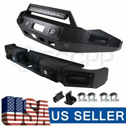 Steel Front And Rear Bumper Guard W/ Led Lights D-rings For Dodge Ram 1500 13 - 18