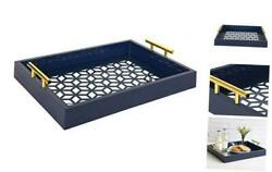 Caspen Rectangle Cut Out Pattern Decorative Tray With Gold Metal Navy Blue