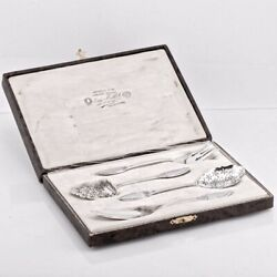 Antique French Sterling Silver Hors Dand039oeuvre Server Serving Set Boivin Box Case