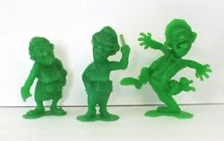 1964 Marx Nutty Mads - Set Of 3 Green Now Children, Us Male, And Mudder - Vintage