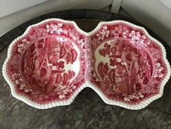 Superb Copeland Spodeand039s Tower Pink Handled 2 Part Divided Serving Dish Old Mark