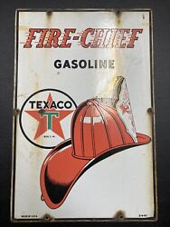 Vintage 1947 Texaco Fire Chief Gas Station Pump Plate 18 Porcelain Metal Sign