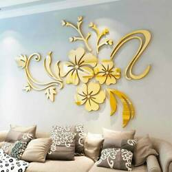 Removable Wall Stickers 3D Mirror Flower Art Mural Decals Home Decor Living Room