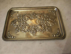 Antique 1899 English Edwardian Sheffield Silver Plate Tray- Britton Gould And Co