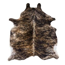 Real Cowhide Rug exotic dark Brindle Top Quality Large Size Size 6 by 7 ft