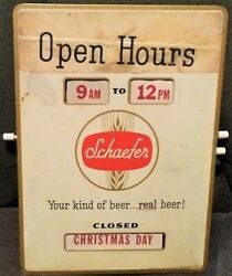 Vintage Beer 1960and039s Schaefer Bar / Store Sign Open Hours Breweria