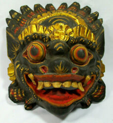 Vintage Antique Chinese Dragon Mask Hand Carved Wooden Asian Ceremonial Beast