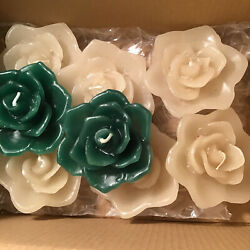 Floating Candles Rose Flower Candles set of 8 Green White