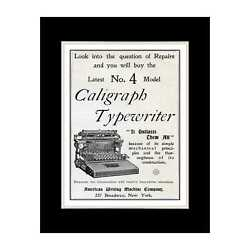 1897 Caligraph Typewriter - Matted For 11x14 Frame