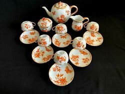 Herend Porcelain Handpainted Queen Victoria Fortuna Tea Set For 6 Persons-vboh