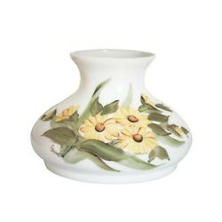 White Opal Student Tam O Shanter Glass Lamp Shade Yellow Flowers - 7 Fitter