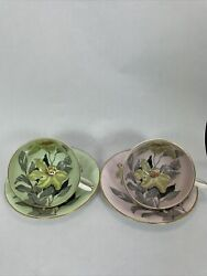 Pair Of Bone China Tea Cups And Saucers Clarence England Pink And Green