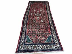 4x10 Antique Handmade Wool Rug Floral Runner Allover Red Teal Organic Dyes
