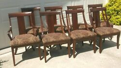 Set Of Eight Ethan Allen' Medallion' Cherry Dining Room Chairs Finish 295