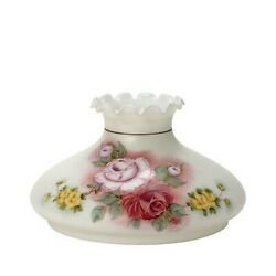 Satin White Floral Tam O Shanter Glass Lamp Shade With Crimp Top - 10 Fitter
