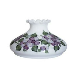 Purple Floral Tam O Shanter Glass Lamp Shade With Crimp Top - 10 Fitter