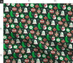 Christmas Pickle Tree Ornaments Festive Holiday Spoonflower Fabric By The Yard